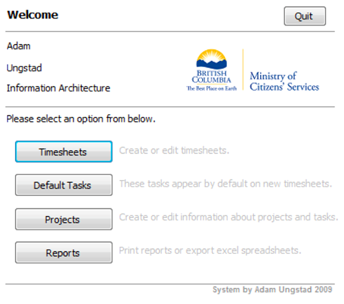 Welcome screen of the TimeTracker system