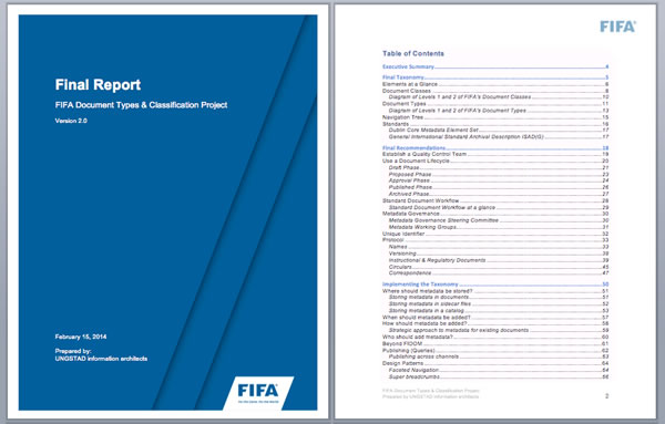 Cover page & table of contents for the final report.